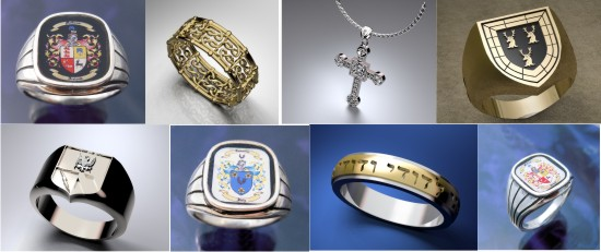 Unique Celtic Cross Jewelry - Heraldic Customized Family Crest Ring