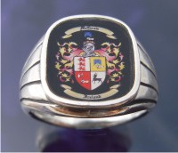 Family Coat of Arms Rings with print on Facing