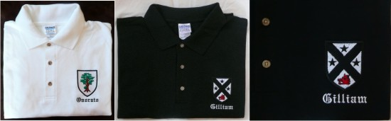 Embroidered golf shirt or polo shirts can display your coat of arms.