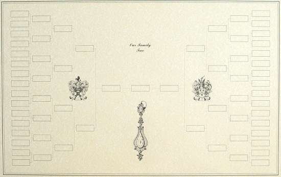 6 Generation Blank Family Tree Example With Decorative Artwork