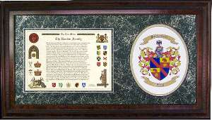 Last Name Meaning and family coat of arms with crest framed.
