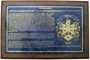 Family Name Plaque with Coat of Arms Engraved.