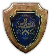 Coat of Arms Engraved Wood Plaque with Marble Backgrounds