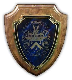 English Coat of Arms Engraved on a Wooden Wall Plaque