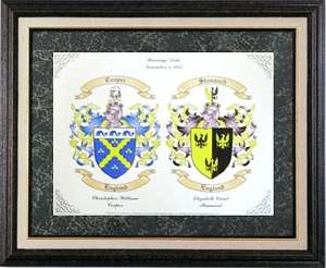 Wedding Gift for a Two English Coats of Arms Display