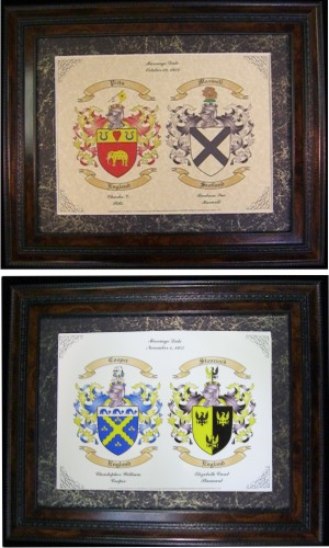 Wedding Gift for a Marriage Showing Two Coats of Arms