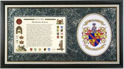 Print of a Family History and a Print of a Coat of Arms