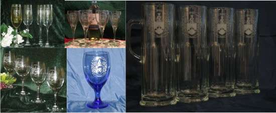 Unique Wine Glasses with Decorative Coat of Arms on Each Wine Glass