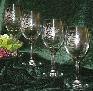 Etched Wine Glasses with a Decorative Family Coat of Arms Picture