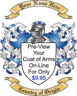 On-Line Pre-View of your Family Crest and Coat of Arms