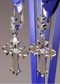 Sterling Silver �Cross Earring Set� has 3 beautiful diamonds set within.