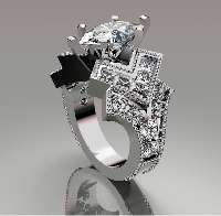 Custom made wedding ring with diamonds.