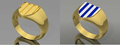Family coat of arms ring or crest ring for the surname Armstrong.