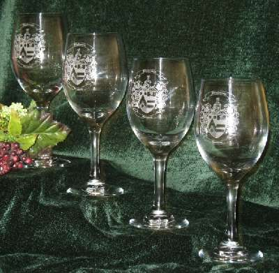 Etched Wine Glasses with a Decorative Family Coat of Arms - Unique Birthday Present Idea
