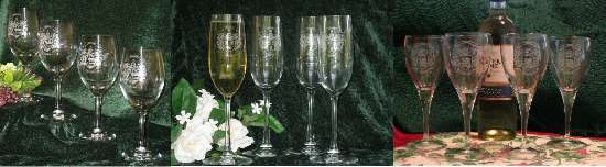Etched and Engraved Wine Glasses with a Decorative Family Coat of Arms - Unique Christmas Present Idea