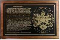 Engraved Name Plate with Coat of Arms / History Plaque