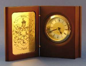 Desk Clock with Family Coat of Arms
