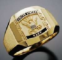 Navy ring engraved and made from yellow gold.