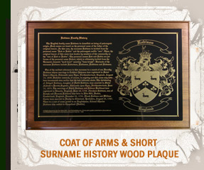 Coat of Arms & Short Surname History Wood Plaque