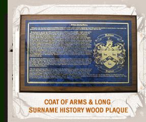 Coat of Arms & Long Surname History Wood Plaque