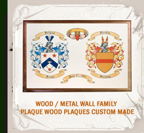 Coat of Arms Wood Plaque Engraved on Gold Background
