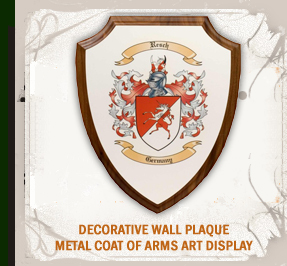 Coat of Arms Wood Plaque Engraved on Silver Background