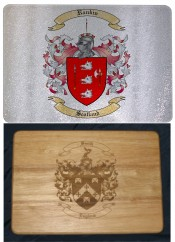 Glass Cutting Board or Wood Cutting Boards with Coat of Arms / Crest