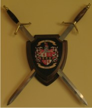 Sword Display Wall Plaque with Coat of Arms & Family Crest