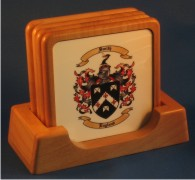 Wood Drink / Beer Coasters with Family Coat of Arms