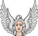 Simplistic Angel 4 Head with Wings