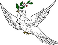 Simplistic Religious Symbol 9 Dove with Olive Branch