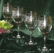 Etched Wine Glasses with Decorative Coat of Arms