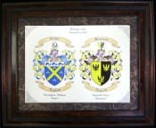 Coats of Arms Wedding Display. Great Anniversary Gift Idea.